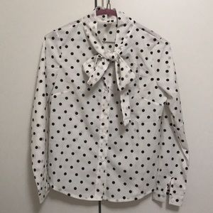 Tops - White polka dot button down